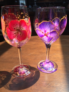 Wine Glass Painting Floral